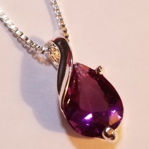 """Amethyst Pendant With 20"""" Box Chain. 9.25"""